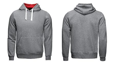 grijze hoodie, sweatshirt mockup, op een witte achtergrond Stockfoto