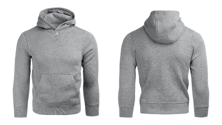 gray hoodie, sweatshirt mockup, on white background