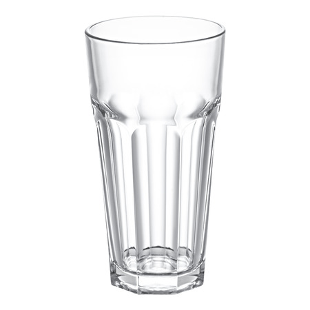 Empty faceted glass  on white background