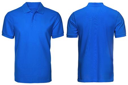 빈 파란색 폴로 셔츠, 전면 및 후면보기 격리 된 흰색 배경. 인쇄용 폴로 셔츠, 템플릿 및 실물 크기 모형 디자인. 스톡 콘텐츠