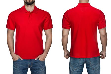Mannen in lege rode polo shirt, voor- en achterkant bekijken, geïsoleerde witte achtergrond. Ontwerp poloshirt, sjabloon en mockup om te bedrukken. Stockfoto - 84124290