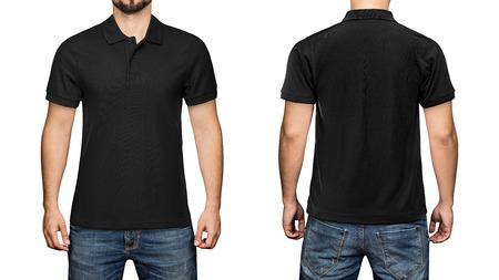 mannen in lege zwarte polo shirt, voor- en achterkant bekijken, geïsoleerde witte achtergrond. Ontwerp poloshirt, sjabloon en mockup om af te drukken. Stockfoto