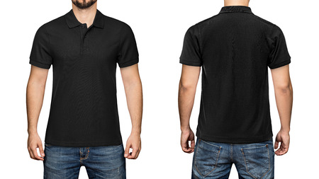 men in blank black polo shirt, front and back view, isolated white background. Design polo shirt, template and mockup for print. 版權商用圖片 - 84334679
