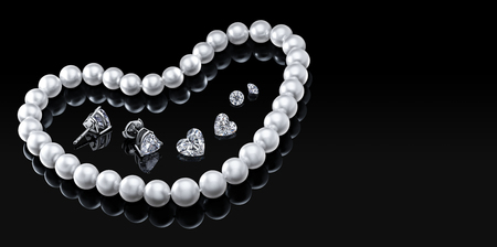Luxury set white pearl necklace and jewelry with diamonds in earrings on a black background with glossy reflection and blank  template for your design  or copy space  your text.