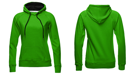 Blank sweatshirt template, front and back view, isolated on white background with clipping path, green hoodie mock-up. clothes hoody sweater design presentation for print.