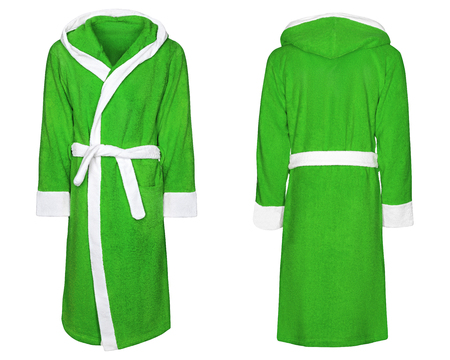 green bathrobe for home, isolated white background with clipping path.