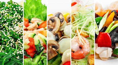collage of various seafood products on  white background.