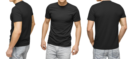 Young male in blank black t-shirt, front and back view, isolated white background with clipping path. Design men tshirt template and mockup for print.