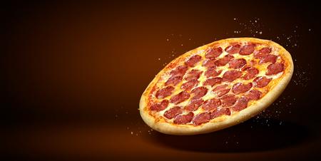 Volantino promozionale di concetto e poster per ristoranti o pizzerie, modello con deliziosa pizza peperoni, mozzarella e copia spazio per il testo. Archivio Fotografico - 93123980
