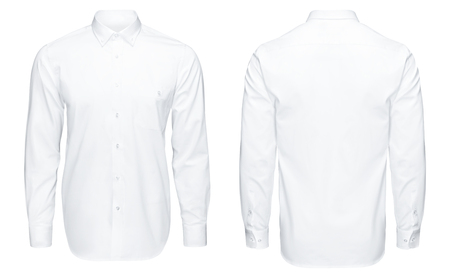 Detail closeup business or classic white shirt, front and back view, isolated on white background with clipping path. Banco de Imagens