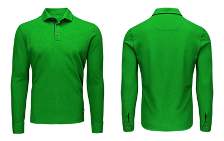 Blank template mens green polo shirt long sleeve, front and back view, isolated on white background with clipping path. Design sweatshirt mockup for print. Фото со стока