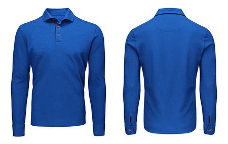 Vista anteriore e posteriore della manica lunga, blu della camicia di polo blu del modello in bianco, isolata su fondo bianco con il percorso di ritaglio. Felpa design mockup per la stampa.