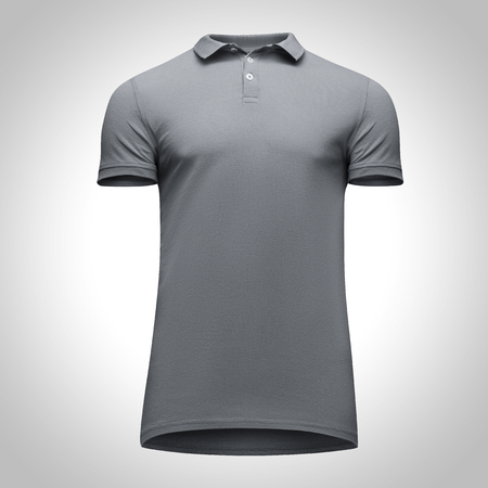 Blank template men grey polo shirt short sleeve, front view bottom-up, isolated on gray background with clipping path. Mockup concept t-shirt for design and print.
