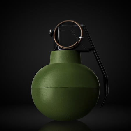 Concept of combat airsoft hand grenade on black background. Imagens
