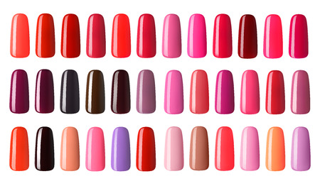 Nail polish in different fashion color. Colorful nail lacquer in tips  isolated white background. Standard-Bild