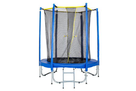 Trampoline for children and adults for fun indoor or outdoor fitness jumping on white background. Blue trampoline Isolated with safety net with Zipper entrance. 版權商用圖片