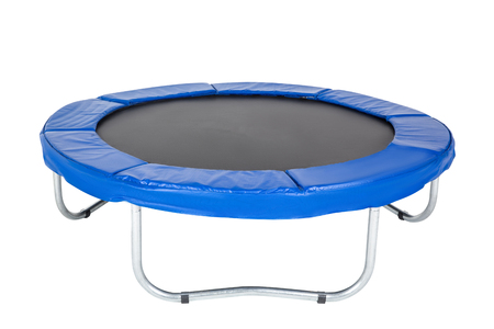 Trampoline for children and adults for fun indoor or outdoor fitness jumping on white background. Blue trampoline Isolated Standard-Bild