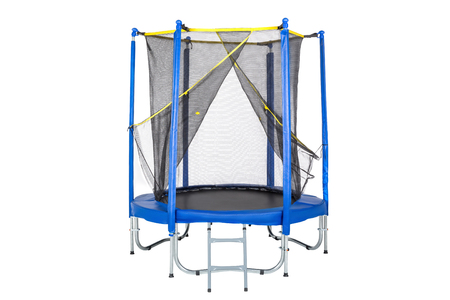 Trampoline for children and adults for fun indoor or outdoor fitness jumping on white background. Blue trampoline Isolated with safety net with Zipper entrance. Banco de Imagens