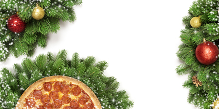 Christmas pizza isolated on white background. Copy space. Top view.