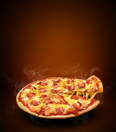 Concept  promotional poster for Restaurant pizzeria menu with delicious taste pizza pepperoni and slice, mozzarella cheese and copy space for  promo text.