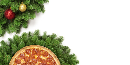 Christmas pizza isolated on a white background. Stock Photo