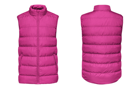 Pink waistcoat down jacket sleeveless with zipped, front and back view isolated on white background.