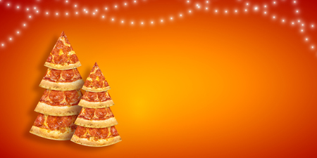 Christmas promotion flyer with pizza slice in shape of Christmas tree with copy space.