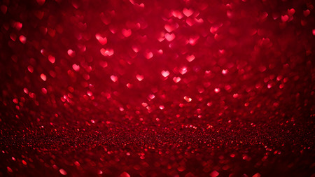 Valentines day background with red bokeh hearts. Love day concept red glitter texture.