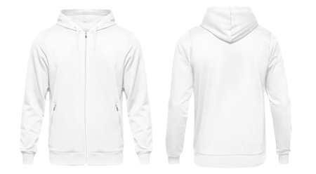 Weißes männliches Hoodie-Sweatshirt mit langen Ärmeln mit Beschneidungspfad, Herren-Hoodie mit Kapuze für Ihr Designmodell für den Druck, einzeln auf weißem Hintergrund. Vorlage Sportkleidung.