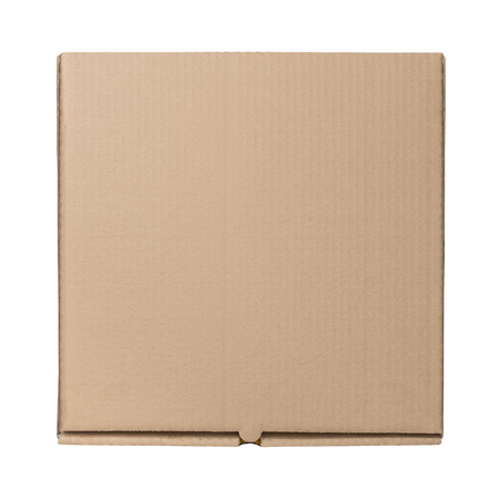 Pizza box Blank Mockup of brown Cardboard for delivery isolated on white background.
