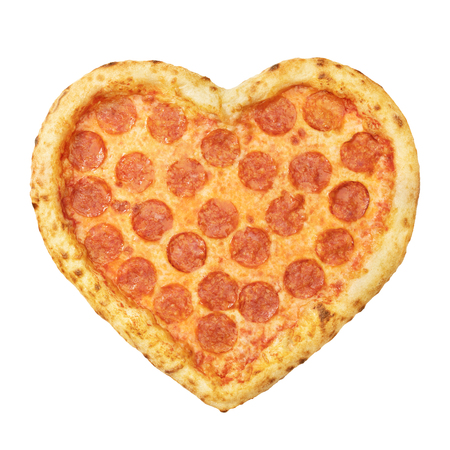 Pizza Pepperoni Heart shaped top view with mozzarella cheese, salami, template for your design and menu of restaurant, isolated white background. Valentine day pizza concept.