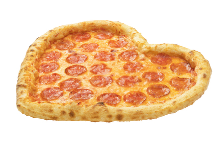 Pizza Heart shaped with mozzarella cheese, salami, template for your design and menu of restaurant, isolated white background. Valentines day pizza concept. 写真素材