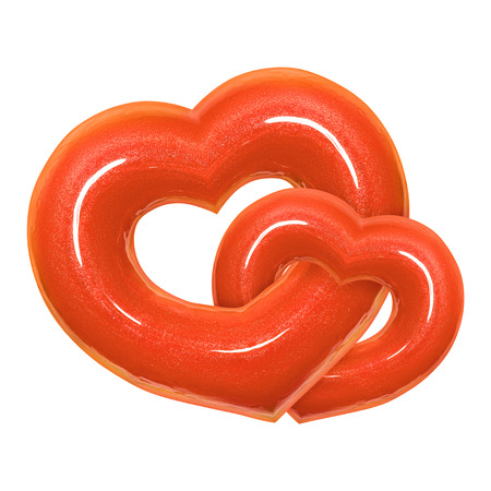 Two Donut heart shape with living trend color 2019 glazed front view isolated white background with clipping path. Donut Valentines day. Concept love is glaze doughnut sweet food. 写真素材