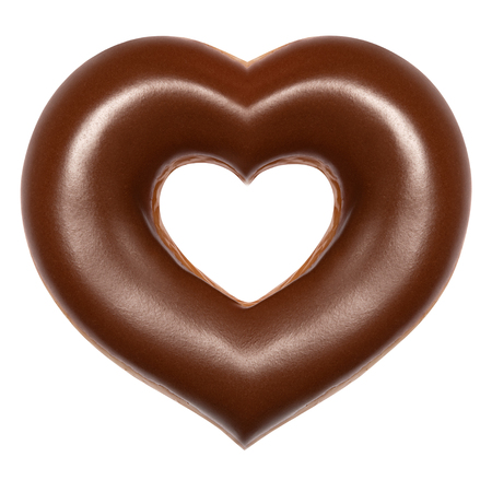 Donut chocolate heart shape front view isolated on white background with clipping path. Donut Valentines day. Concept love is glazed doughnut sweet food.