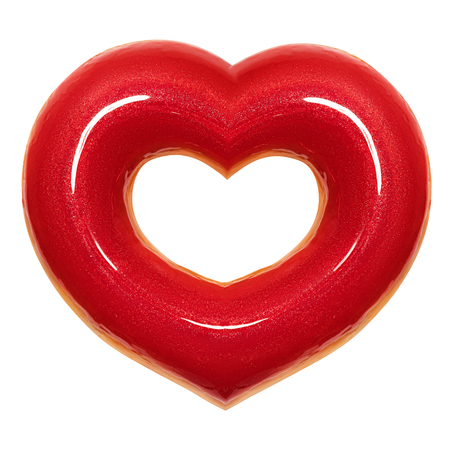Donut red heart shape with red glaze front view isolated white background with clipping path. Donut Valentines day. Concept love is glazed doughnut sweet food.