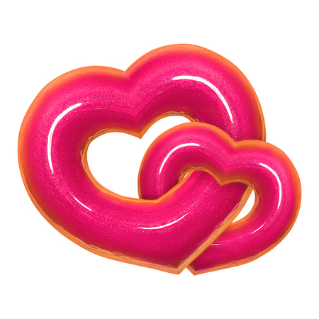 Two Donut heart shape with pink glazed front view isolated white background with clipping path. Donut Valentines day. Concept love is glaze doughnut sweet food.