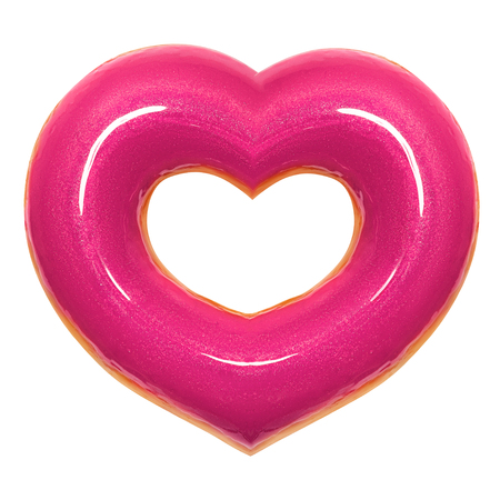 Donut pink heart shape with red glaze front view isolated on white background with clipping path. Donut Valentines day. Concept love is glazed doughnut sweet food.