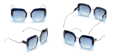 Metal sun glasses with polarizing blue gradient Mirror Lens  isolated on white background. Fashionable summer eye glasses collection.