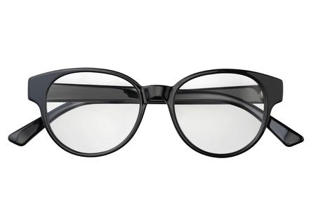 Schwarze Brille im runden Rahmen transparent zum Lesen oder für gutes Sehvermögen, Draufsicht isoliert auf weißem Hintergrund. Brillenmodell. Standard-Bild