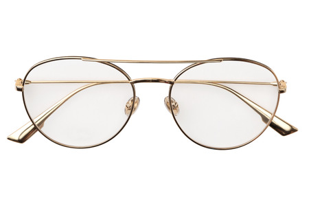 Gold eye glasses metal in round frame transparent for reading or good vision, top view isolated on white background. Glasses mockup.