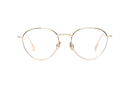Gold glasses metal for reading or good eye sight, front view isolated on white background. Glasses mockup.