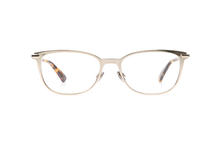 glasses metal in round frame transparent for reading or good eye sight, front view isolated on white background. Banque d'images - 125493233