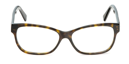 Black and yellow glasses in rectangular frame transparent for reading or good eye sight, front view isolated on white background. 写真素材