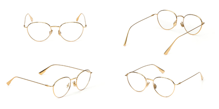 Set glasses gold metal material business style transparent isolated on white background. Collection fashion office eye glasses.