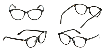 Set black glasses transparent isolated on white background. Collection fashion office eye glasses. 写真素材