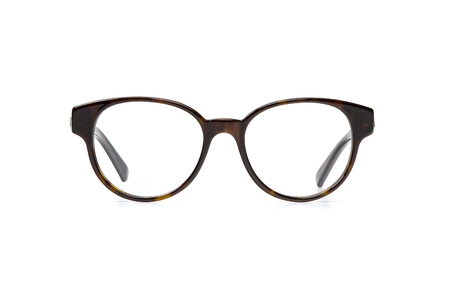 Black eyeglasses in round frame transparent for reading or good vision, front view isolated on white background.