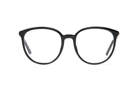 Black glasses in round frame transparent for reading or good eye sight, front view isolated on white background. 写真素材