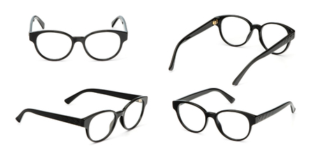 Set black glasses business style transparent isolated on white background. Collection fashion office eye glasses.
