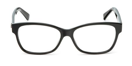 Anteojos negros en marco rectangular transparente para lectura o buena visión, vista superior aislada sobre fondo blanco.