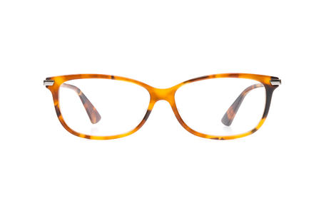 Yellow eyeglasses in rectangular frame transparent for reading or good vision, front view isolated on white background. Фото со стока